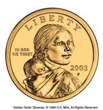 Folding Gold Dollar Coin
